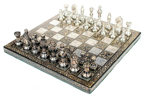 Brass Chess Set Carving 12 Inches