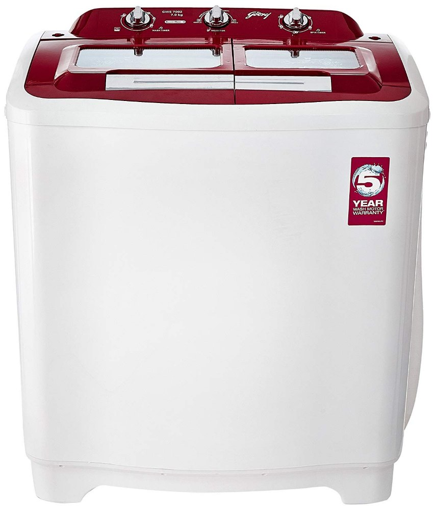 Godrej 7 kg Semi Automatic Top Load Washing Machine, GWS 7002, Red & ...