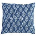 Handmade Sanganeri Printed Cushion Cover Indigo Dabu Printed Cotton Sofa Pillow Cover
