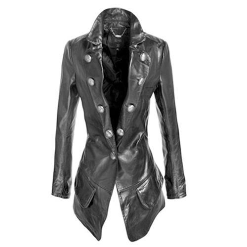 Womens Black Long Cut Leather Jacket At Rs 4500 Piece Ladies