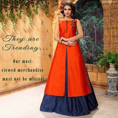 5b6a4808b34c Orange And Navy Blue Ladies Kurti With Skirt, Rs 5250 /set | ID ...