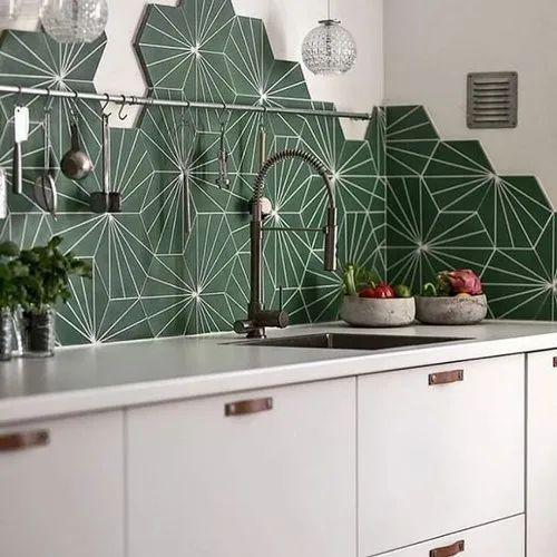 Ceramic Hand Printed Hexagon Tile