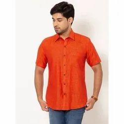 Rock Men Rust Orange Half Sleeves Linen Shirt, Hand-wash & Laundry Iron