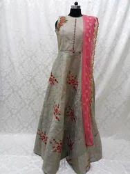 Silk Silver Party Look Long Salwar Suit