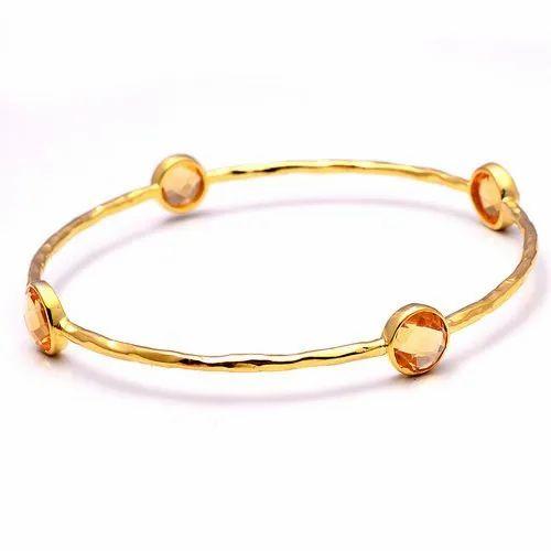 5274537ce81adf Round 925 Sterling Silver Citrine Gemstone Gold Plated Bangle Bracelet