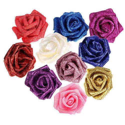 Glitter Decoration Plastic Artificial Flowers