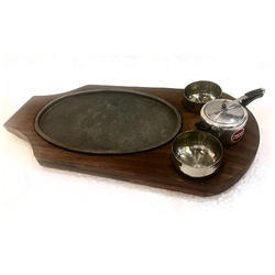 Oblong Sizzler With Chutney Cooker & Dip Bowls