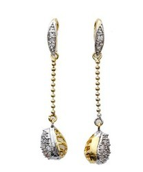 Hoop Earring With CZ American Diamond Stone
