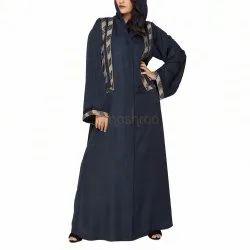 Royal Laced Navy Blue Abaya