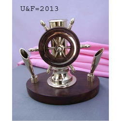 Brown Brass Nautical Gift Pen Holder, For Decoration, Shape: Wheel Of Ship