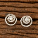 White Brass, Copper Cz Stud Earring With Rhodium Plating 401977