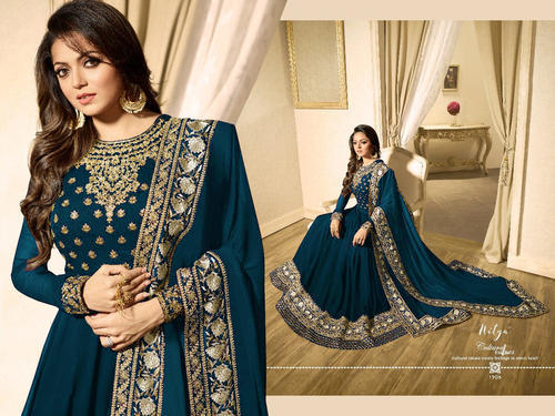 0113d74c74 Georgette Embroidered Blue Long Anarkali Suit, Rs 1399 /piece | ID ...