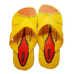 Mens Yellow Printed Rubber Slipper, Size: 6-9