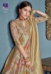 Shangrila Aastha Digital Pallu Linen Jacquard Printed Saree