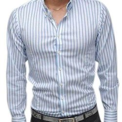 Collar Neck Full Sleeve Mens Striped Cotton Shirt