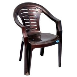 Neelgagan Brown 4 Legs Plastic Chair With Armrest