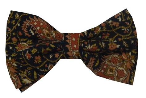 c42a56f56d06 Black Floral Design Silk Double Bow Tie, प्रिंटेड बो ...