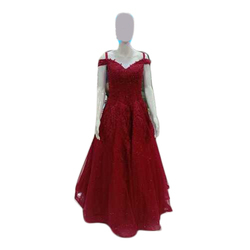 Ladies Maroon Gown, Occasion: Party
