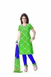 Parrot Green And Blue Color Fancy Design Gaji Silk Bandhani Suit