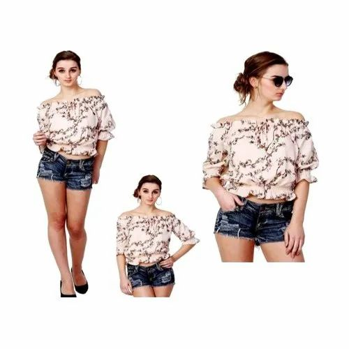 b728cf3805c Beige Summer Cool Printed Off Shoulder Top