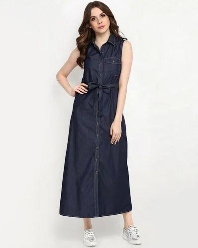 0715af0b446 Blue Plain Denim Maxi Dress