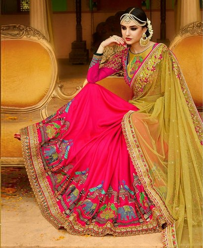 4273da55a3 Light Green and Dark Pink Saree at Rs 1550 /piece | Georgette Sarees ...