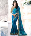 Designer Georgette Satin Saree With Embroidered Blouse