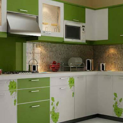 White And Parrot Green Coated Home Modular Kitchen, Rs 850 /square Feet