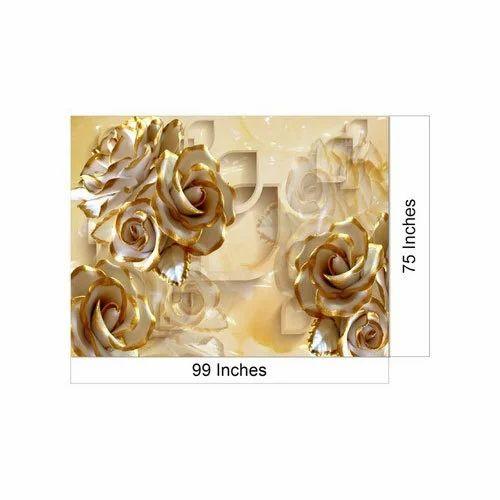 PVC Printed 3D Designer Wallpaper Size 99X75 Inch