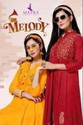 Melody Rayon Two Tone And Block Printed Anarkali Kurtis
