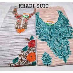 Party Wear Unstitched Khadi Suit For Ladies