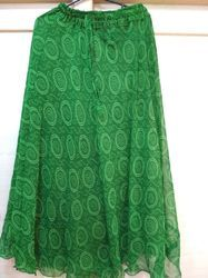 Green Lehriya Circle Kota Doria Skirt