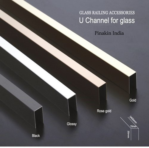 Stainless Steel Golden Finish Glass U Channel, For Construction