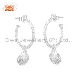 Shell Design 925 Fine Silver Womens Dangle Earrings