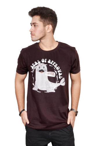 B.O.A.T Brown Cotton Printed T-shirt for Men, Gsm: 180