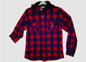 Red And Blue Collar Neck Men Red Checks Shirt