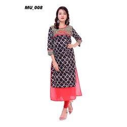 Black Printed Ladies Kurti