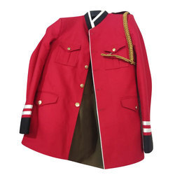 Red And Black Mens Band Coat