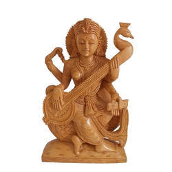 Wooden Carved Saraswati Statue
