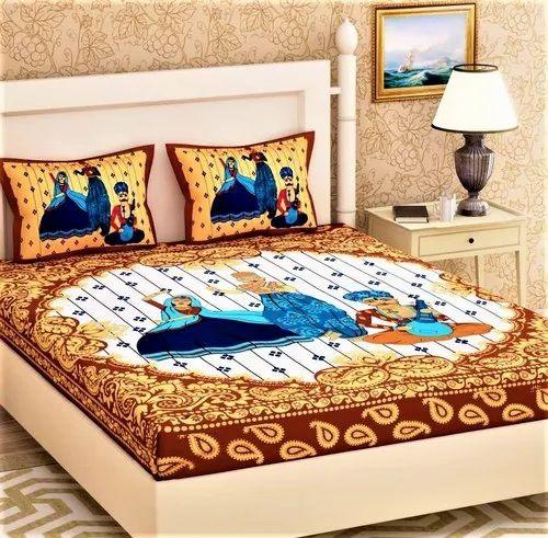 Jaipuri Figure Print Bedsheet