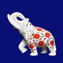 White Marble Elephant Pietra Dura Semi Precious Handmade Home Decor Art Gifts