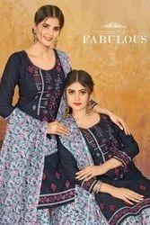 JS Priya Queen of Patiyala Printed Cotton Dress Material Catalog