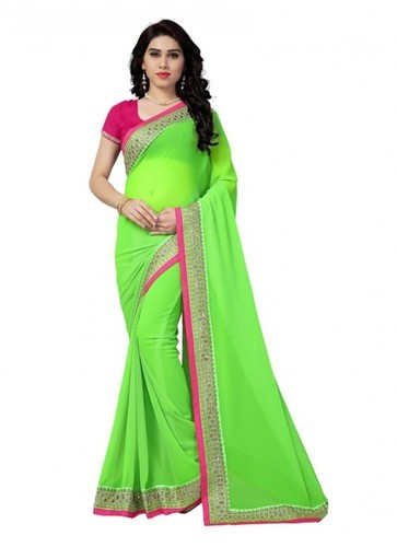 3e50835ca8 Multi Work Casual New Parrot Green Georgette With Pink Border Designer Saree