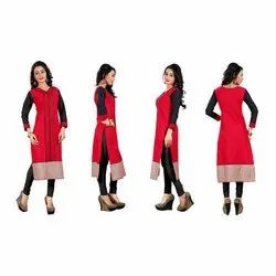 Red & Black Straight Full Sleeve Cotton Kurtis