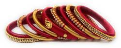 Maroon and Golden Silk Thread Bangle Set