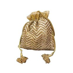 Golden Embroidered Potli Bags