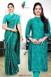Green Silk Georgette Uniform Saree Kurti Combo