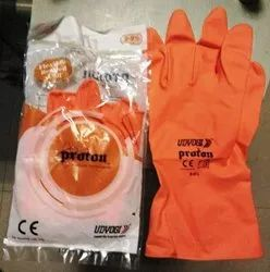 Flock lined Orange Proton Rubber Latex Gloves, For Industrial Use