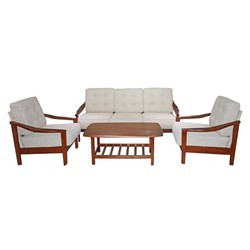 White And Brown Wood Sofa Set