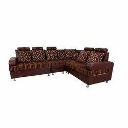 Modern 8 Seater Brown Corner Sofa Set, For Home, Living Room
